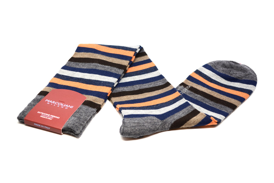 MARCOLIANI - OVER-THE-CALF MERINO RAINBOW STRIPE - BLUE / ORANGE
