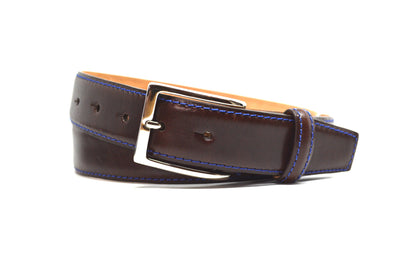 SMOOTH BROWN BELT W/ BLUE STITCH