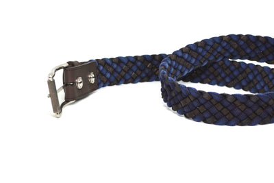 BRAIDED BLUE/BROWN BELT