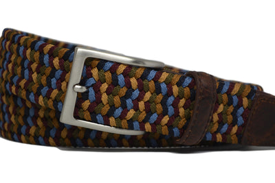 BRAIDED MULTI-STRETCH BELT W/ EMBOSSED CROC