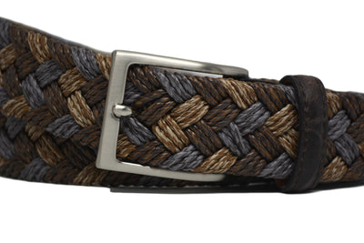 BRAIDED SANDSTONE BELT W/ EMBOSSED CROC