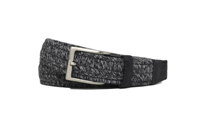 WOVEN CHARCOAL BELT W/ EMBOSSED CROC