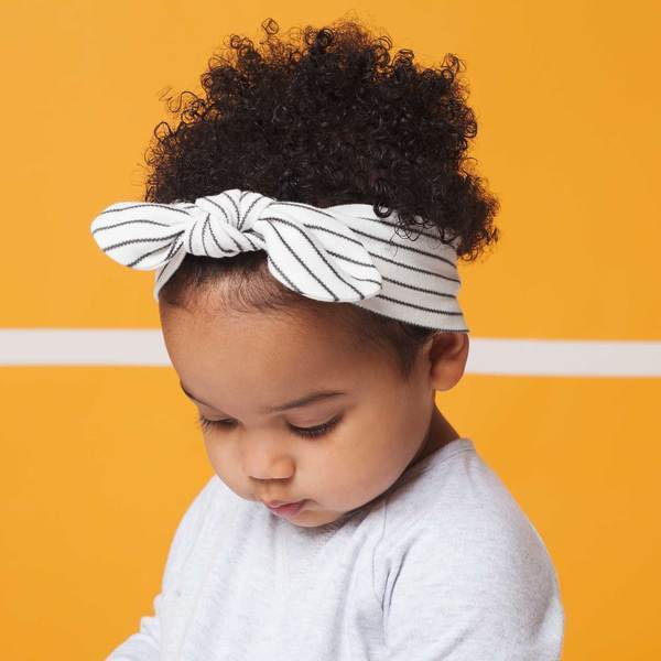 Baby Mori Headband Bow in Grey Stripe - Scandibørn