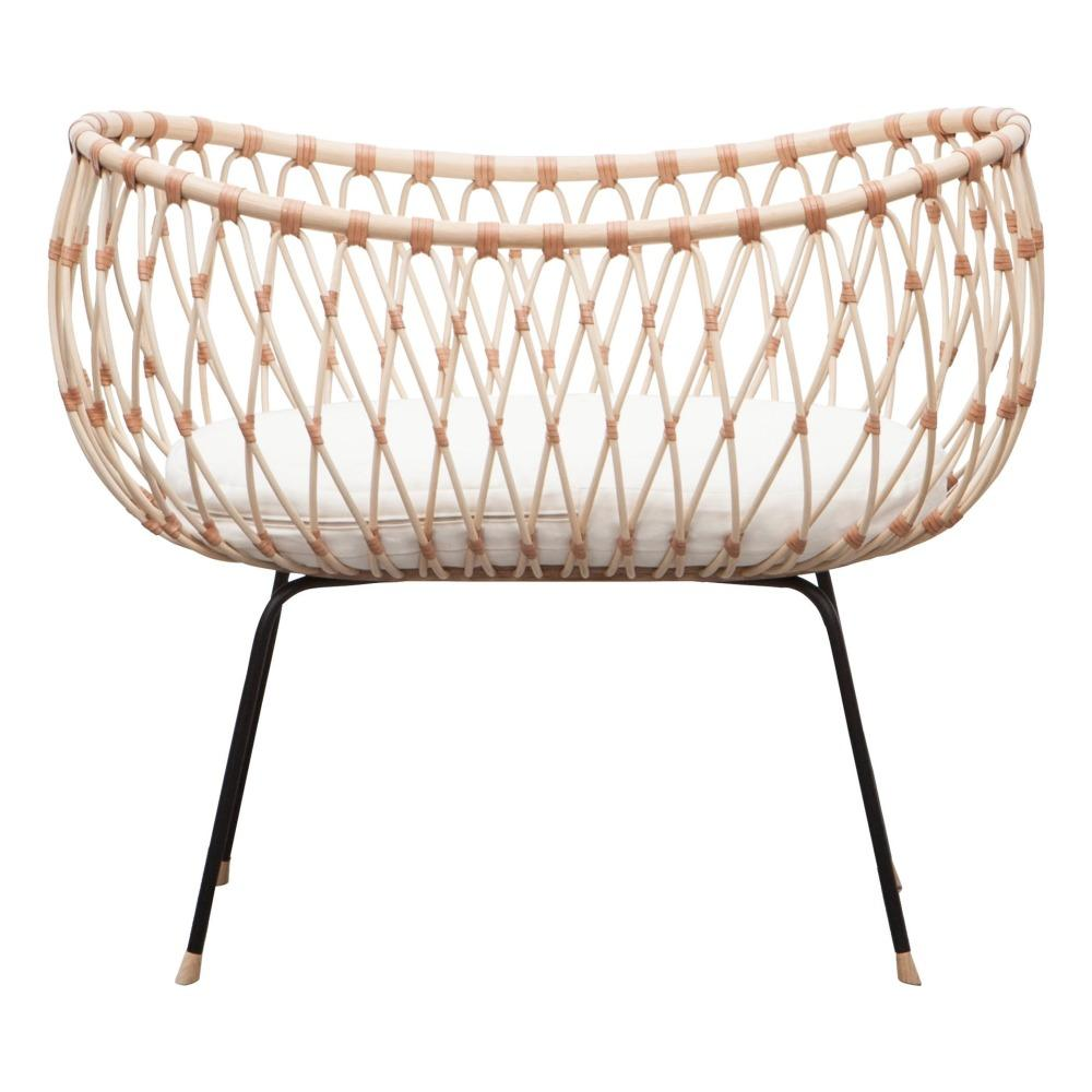 Bermbach Handcrafted EMIL Rattan Crib with Mattress