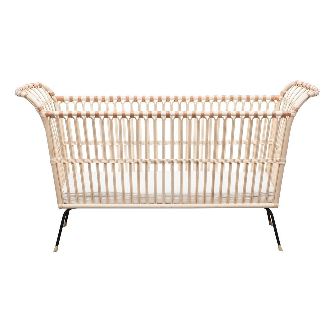 Bermbach Handcrafted Rattan FREDERICK Baby Bed with Mattress