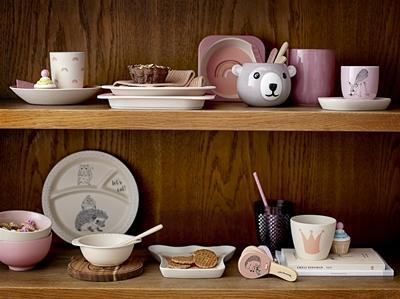 Bloomingville Ninni Bamboo Tableware set in Rose Pink - Scandibørn