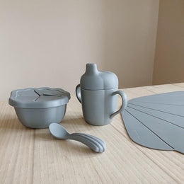 Konges Slojd Silicone Clam Dinnerware Set in Light Blue
