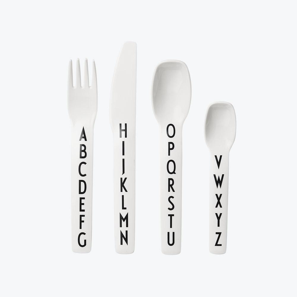 Design Letters Alphabet Cutlery Set in White