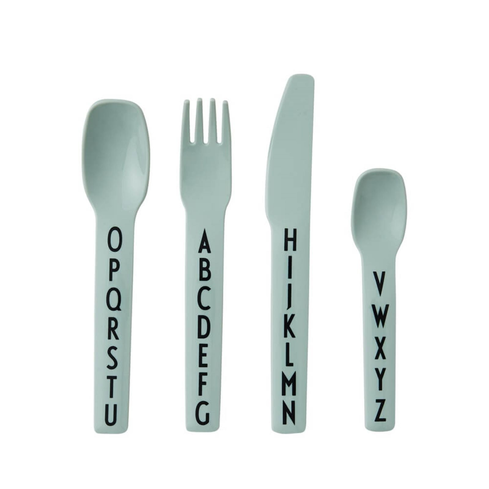 Design Letters Alphabet Cutlery Set in Green