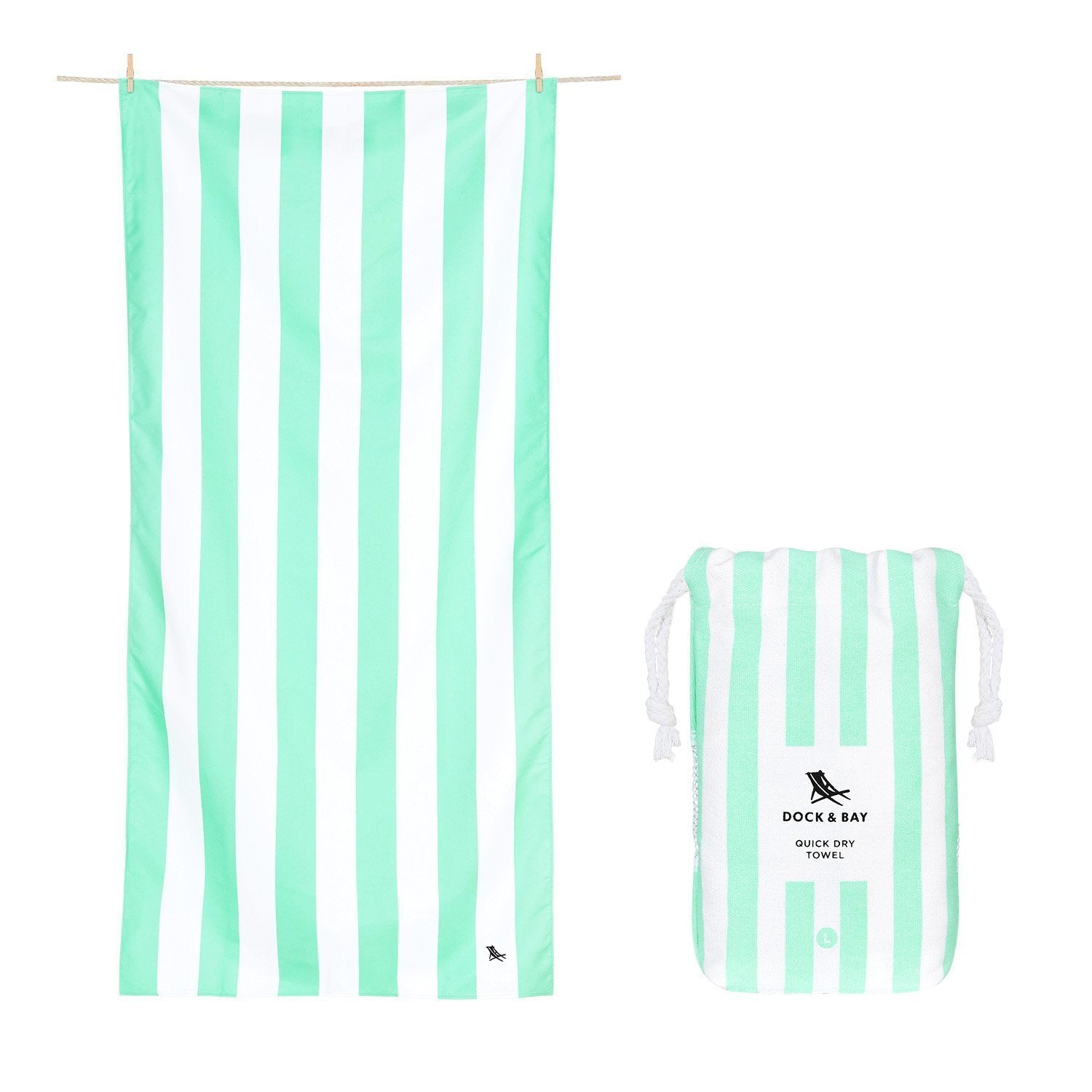 Dock & Bay Cabana Light Towel in Narabeen Green (2 sizes) - Extra Large