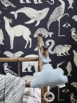 Ferm Living Katie Scott Wallpaper - Animals Dark Blue - Scandibørn