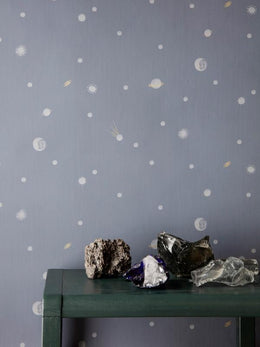 Ferm Living Moon Wallpaper - Dark Blue - Scandibørn