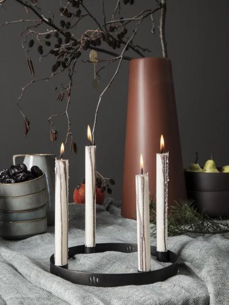 Ferm Living - Small Candle Holder Circle - Black Brass - Scandibørn