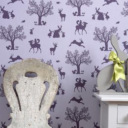 Hibou Home - Enchanted Wood wallpaper in Lilac/Aubergine - Scandibørn
