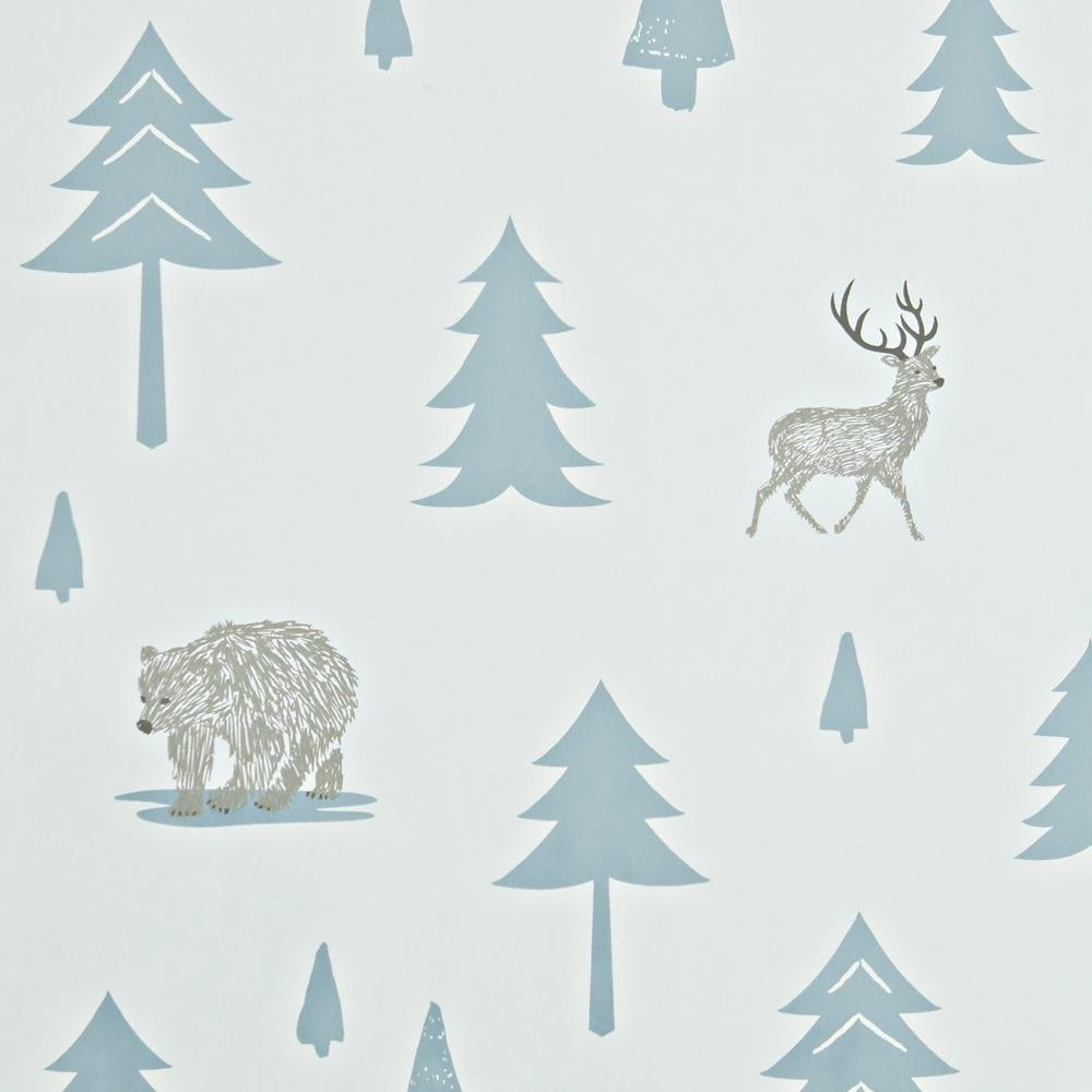 Hibou Home - Into The Wild wallpaper in Grey/Storm Green - Roll