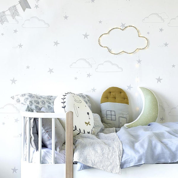 Hibou Home - Starry Sky wallpaper in Silver/White - Scandibørn