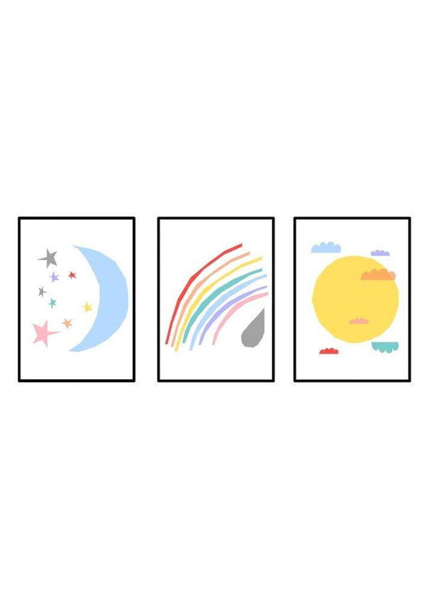 Ingrid Petrie Colourful Skies print in colour (Pack 3) - Scandibørn