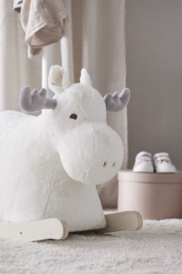 Kids Concept Rocking Moose in White - Scandibørn