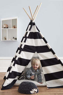 Kids Concept Tipi Tent in Black and White - Scandibørn