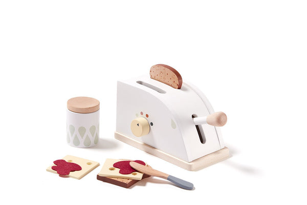 Kids Concept - Wooden Toaster Set in White - Scandibørn