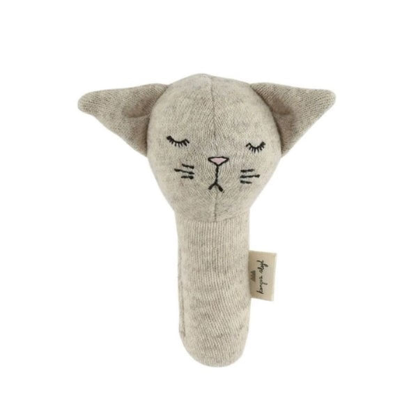Konges Slojd Activity Hand Cat Baby Rattle in Camel Melange - Scandibørn