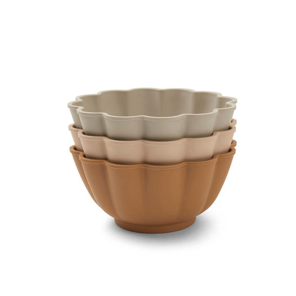 Konges Slojd - Flora Bowls (3 pack) Apricot, Blush, Warm Grey - Scandibørn