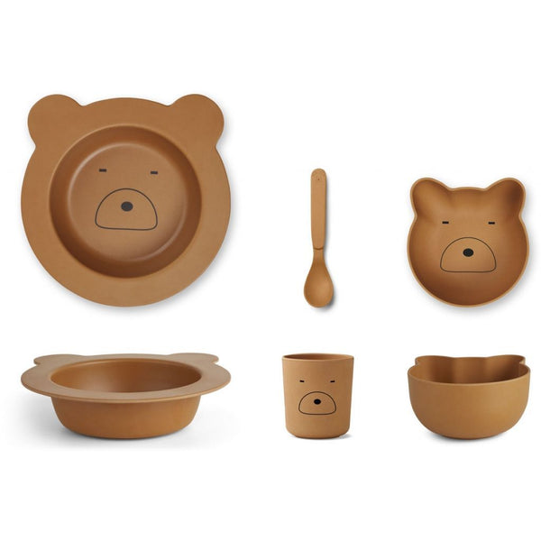 Liewood Barbara Bamboo Tableware baby set - Mr Bear Mustard - Scandibørn