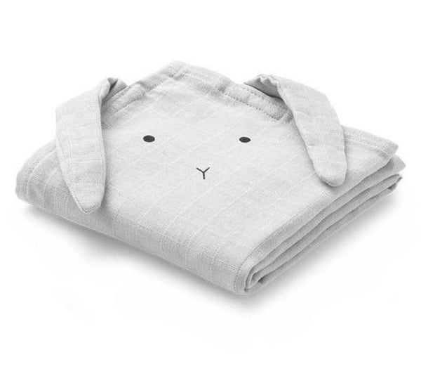 Liewood Hannah Rabbit muslin cloth in dumbo grey (2 pack) - Scandibørn