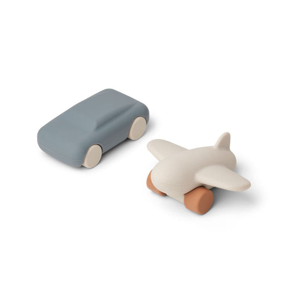 Liewood Kevin Car and Airplane Toys (2 Pack) - Blue Wave/Sandy Mix - Scandibørn