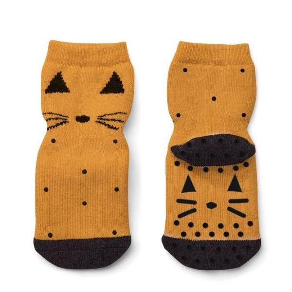 Liewood Nellie / Anti Slip Socks - Cat Mustard - Scandibørn