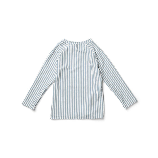 Liewood Noah Swim Tee Seersucker Stripe Sea Blue/White - Scandibørn