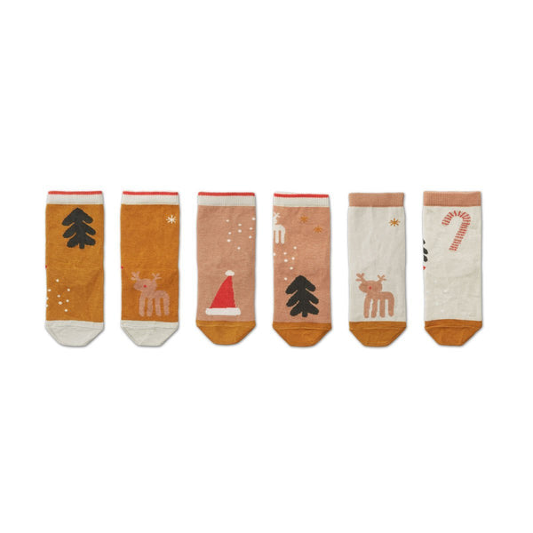 Liewood Silas Socks in Holiday Tuscany Rose Multi Mix (3 Pack) - Scandibørn