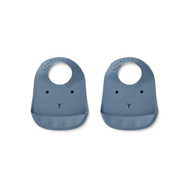 Liewood Tilda Silicon Bib 2 Pack - Rabbit Blue Wave - Scandibørn