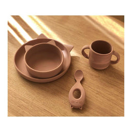 Liewood - Vivi Silicone Baby Tableware Set in Cat Dark Rose - Scandibørn