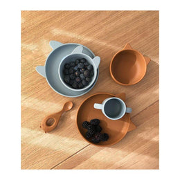 Liewood - Vivi Silicone Baby Tableware Set in Rabbit Sea Blue - Scandibørn