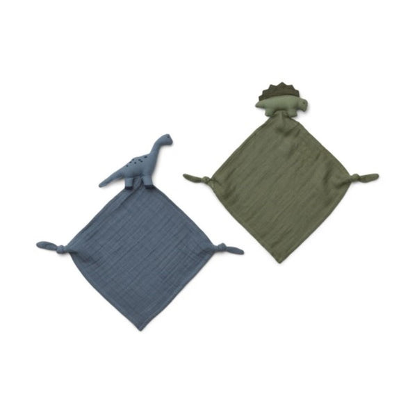 Liewood Yoko Mini Cuddle Cloths (Set of 2) - Dino Blue Mix - Scandibørn