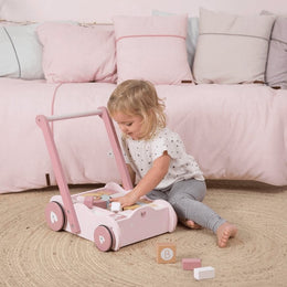 Little Dutch Baby Walker / Block Trolley in Pink - Scandibørn