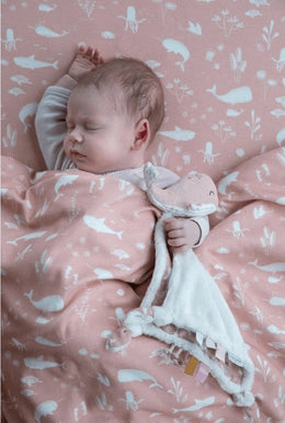 Little Dutch Cuddle Cloth Whale Ocean Pink - Scandibørn