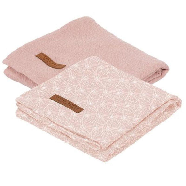 Little Dutch Muslin Cloths (2 pack) 70 x 70 cm in Lily Leaves Pink / Pure Pink - Scandibørn