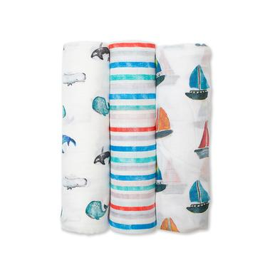 Lulujo Bamboo Swaddles - Out At The Sea (3 Pack)