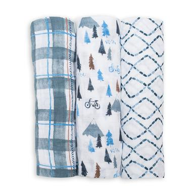 Lulujo Cotton Swaddles - Navy Mountain (3 Pack)
