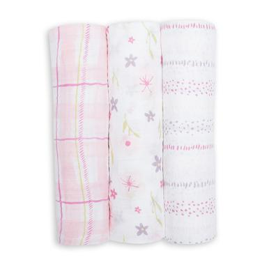 Lulujo Cotton Swaddles - Pink Floral (3 Pack)