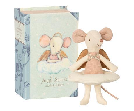 Maileg Baby Angel Mouse Big Sister in Book - Scandibørn