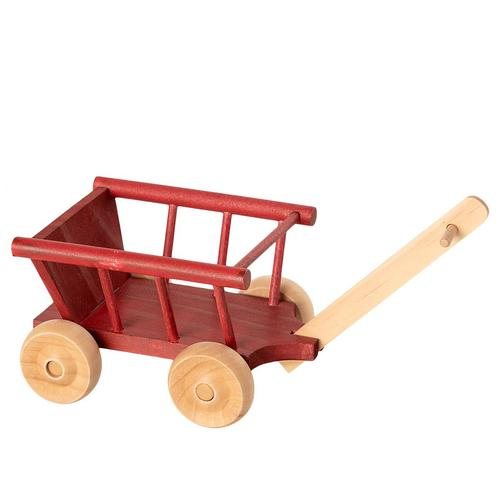 Maileg Dolls Toy Wagon Micro in Dusty Red - Scandibørn