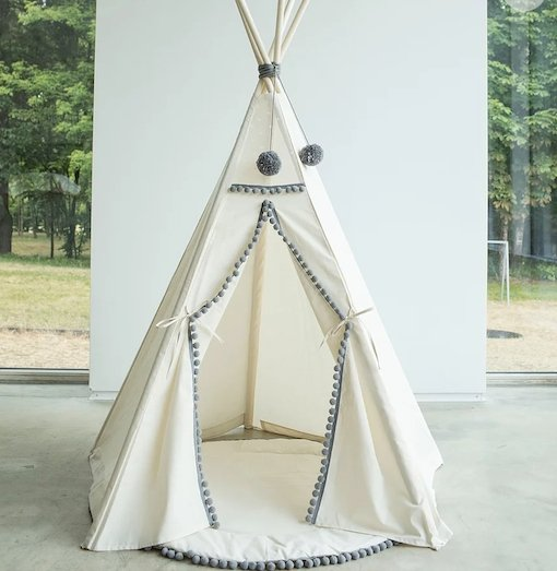 MiniCamp Teepee in Beige with Grey Pom Poms