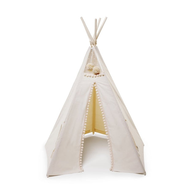 MiniCamp Teepee in Beige with Pom Poms - Scandibørn