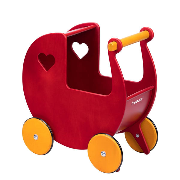 Moover Doll's Wooden Pram in Red - Scandibørn