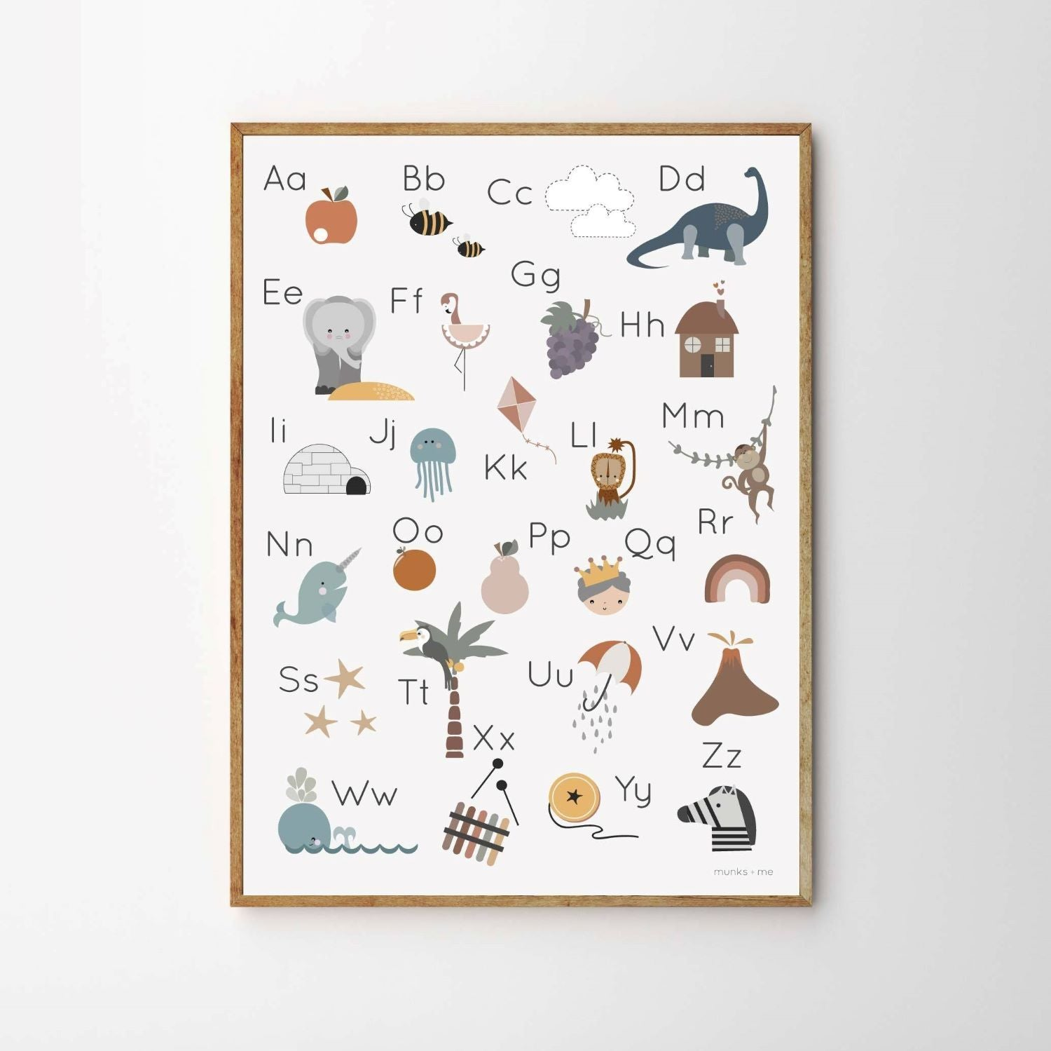 Munks and Me - Character Alphabet Poster Art Print - A3