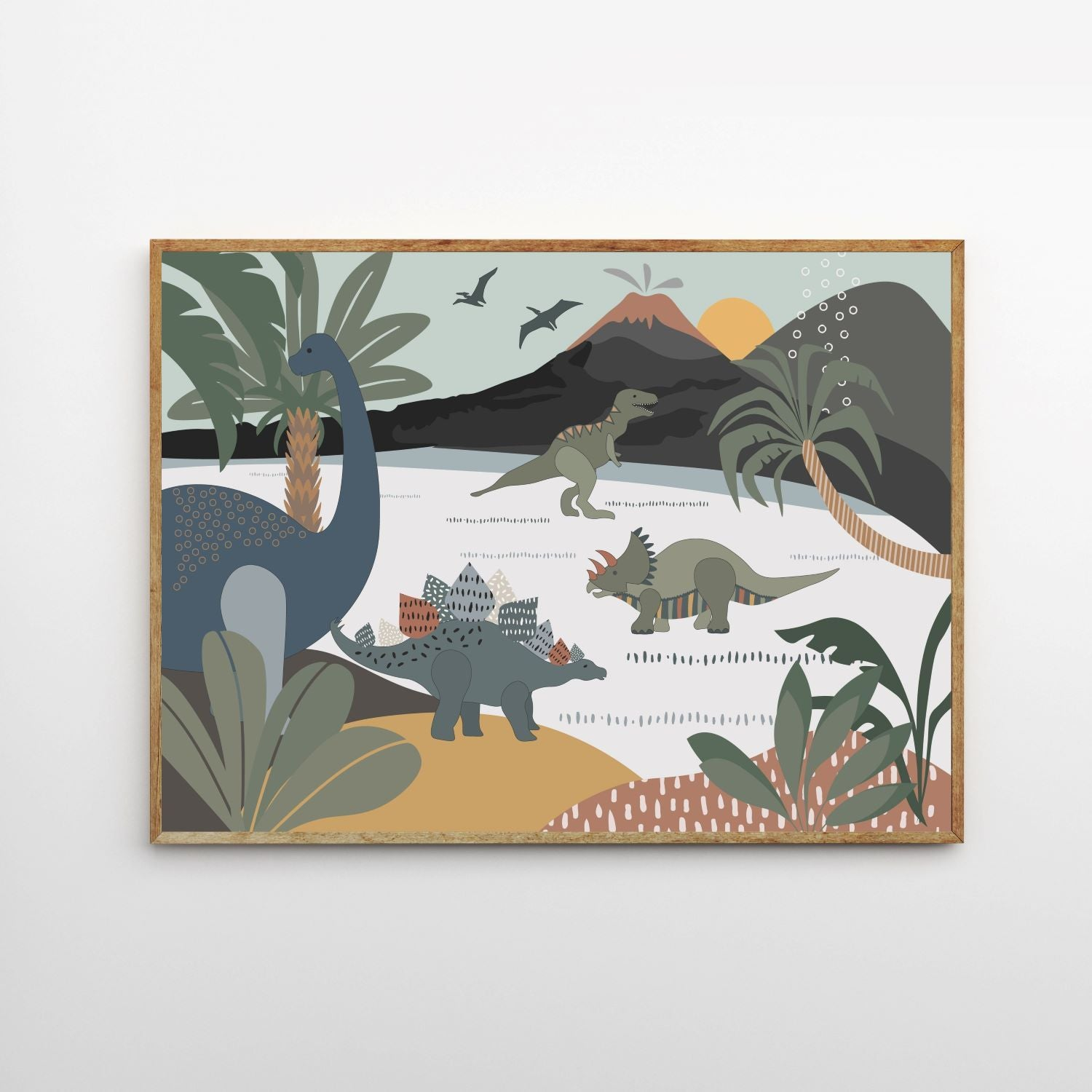 Munks and Me - Dinosaur and Friends Art Print - A3
