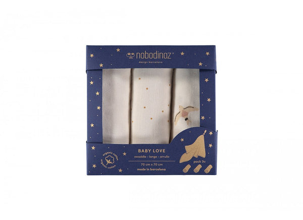 Nobodinoz Box 3U Butterfly/Haiku birds Swaddles - Scandibørn